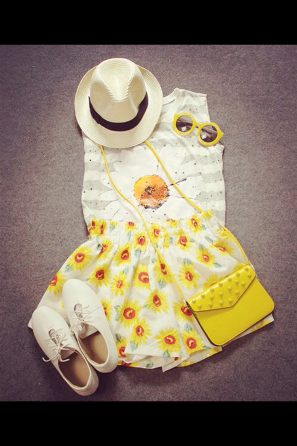 skirt sunflower flowers summer outfits yellow white dress white