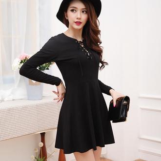 dress black sexy strings overalls xl dress xxl dress asian fashion plus size ulzzang korean fashion