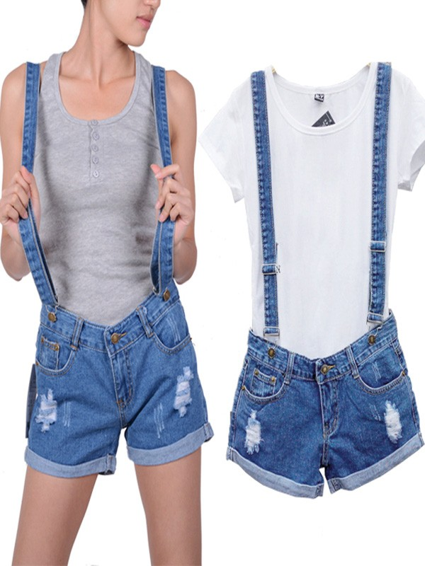 Women's Casual Overalls Distressed Denim Shorts