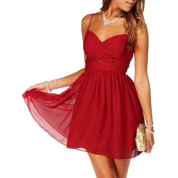 Hailey Logan Elly- Cardinal Red Short Homecoming Dress