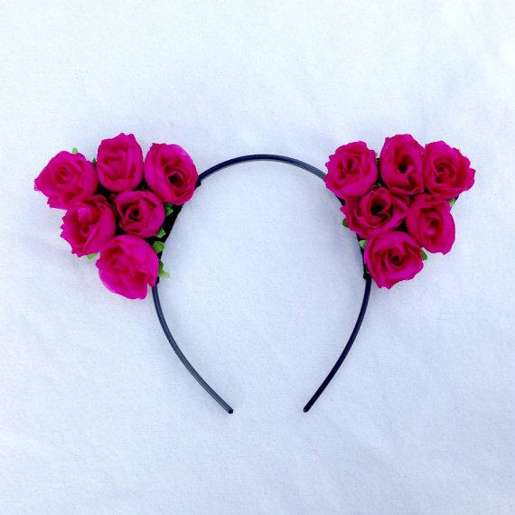 Floral cat ears, flower headband, floral headband, hair accessory, rave accessory
