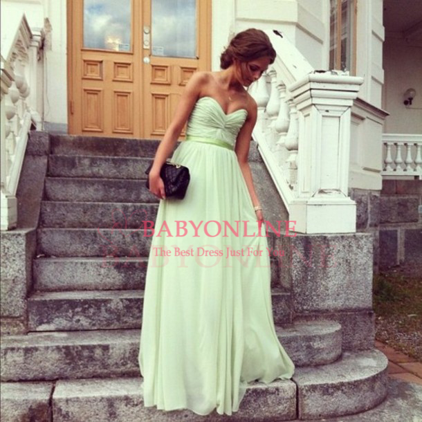 Free Shipping Fashion Sweetheart A line Chiffon Formal Dresses Mint Green Long Bridesmaid Dresses For Wedding-in Bridesmaid Dresses from Apparel & Accessories on Aliexpress.com