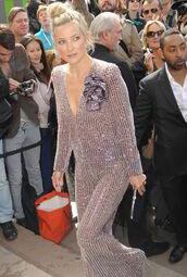 jumpsuit,kate hudson,sequins,sequin dress,sequin jumpsuit,silver,v neck,plunge v neck,bun,celebrity style,celebrity
