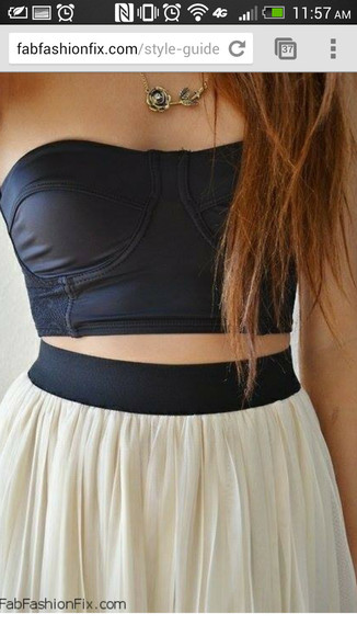 white skirt skirt pleated skirt black waistband cute outfit black bustier crop top
