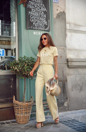 pants,wide-leg pants,high waisted pants,platform sandals,bag,printed blouse,sunglasses