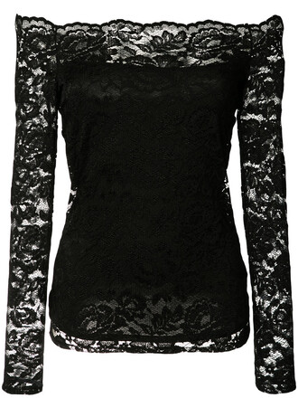 blouse women spandex lace black top