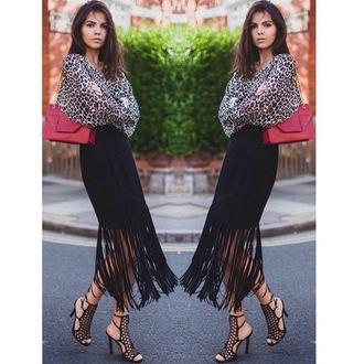 fringe skirt leopard print blouse animal print