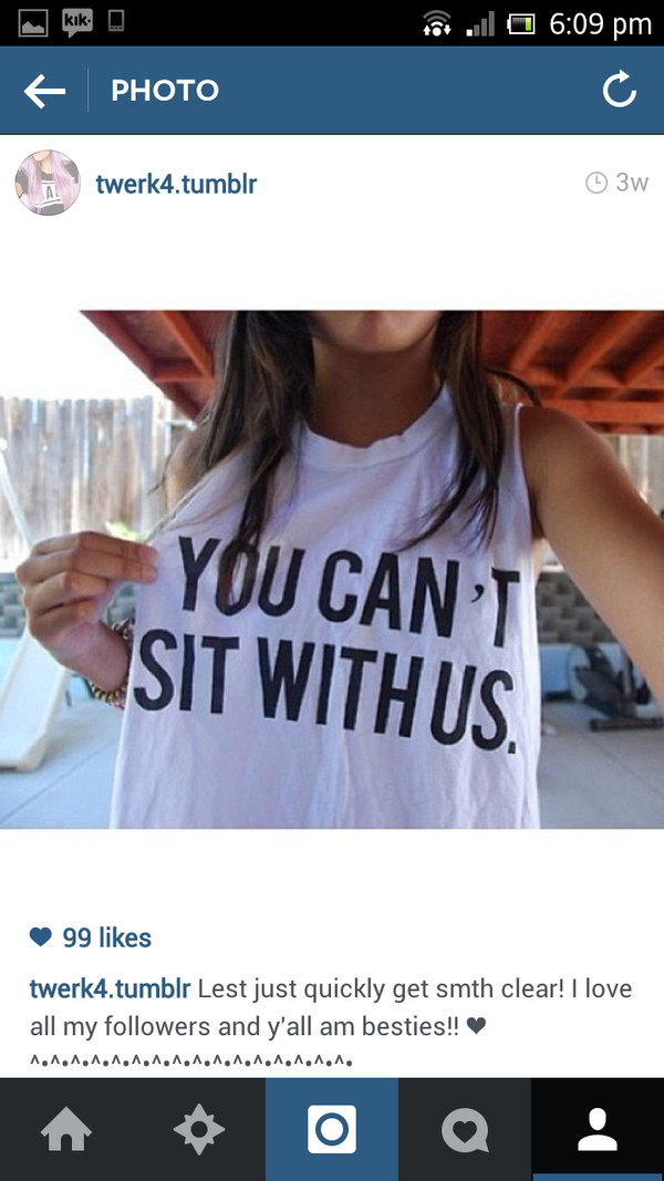 tank top white youcantsitwithus blackletters t-shirt