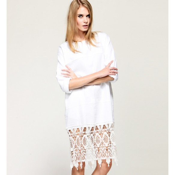 Oversized Dress With Sheer Lace Crochet Hem