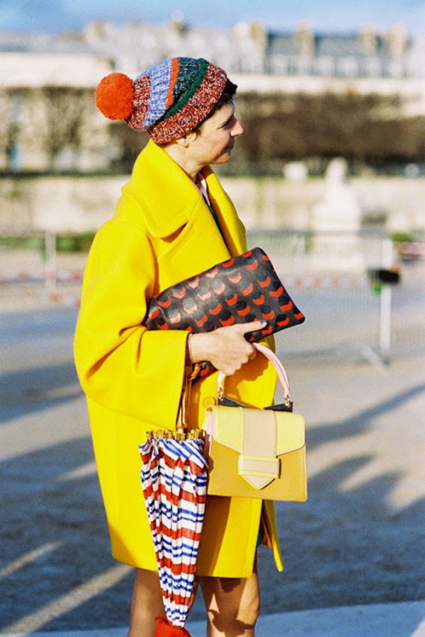 vanessa jackman blogger yellow umbrella pom pom beanie yellow coat