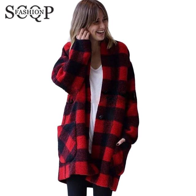 Shop SCQP Plaid Red Women's Winter Coat Button Pockets Casual ...