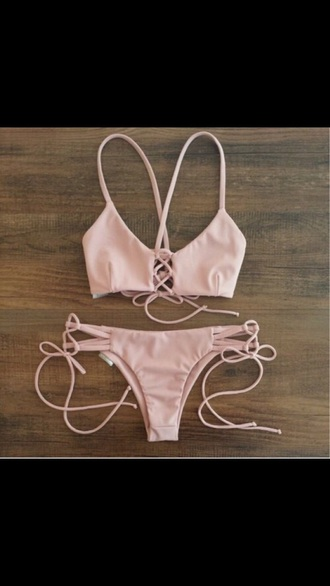 swimwear pink blush summer beach bikin set blush pink