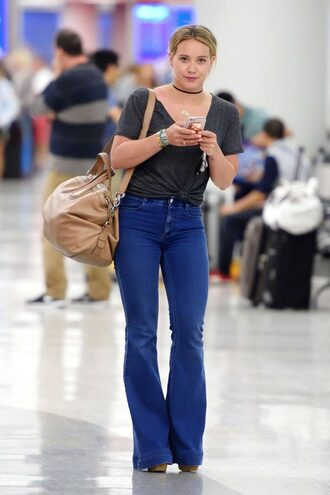 jeans flare jeans choker necklace top hilary duff