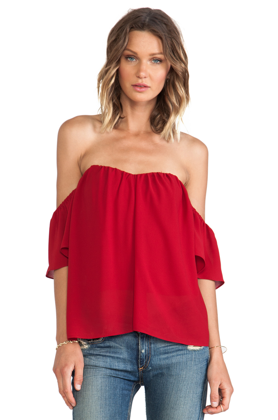 Line & Dot Blonde Ambition Flutter Top in Maroon from REVOLVEclothing.com