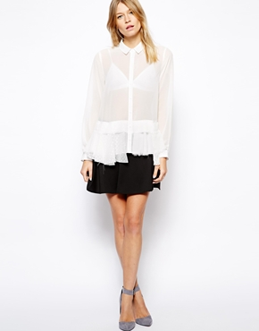 ASOS | ASOS Blouse with Lace Peplum at ASOS