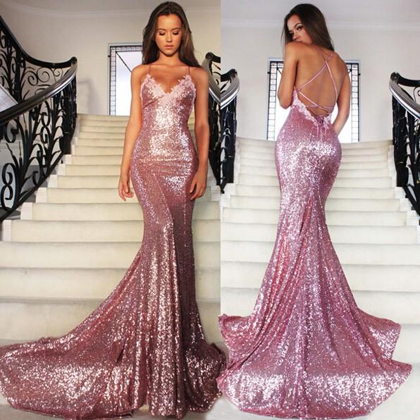 Mermaid Long Rose Pink Prom Party Dresses Sequins Spaghetti Strap ...