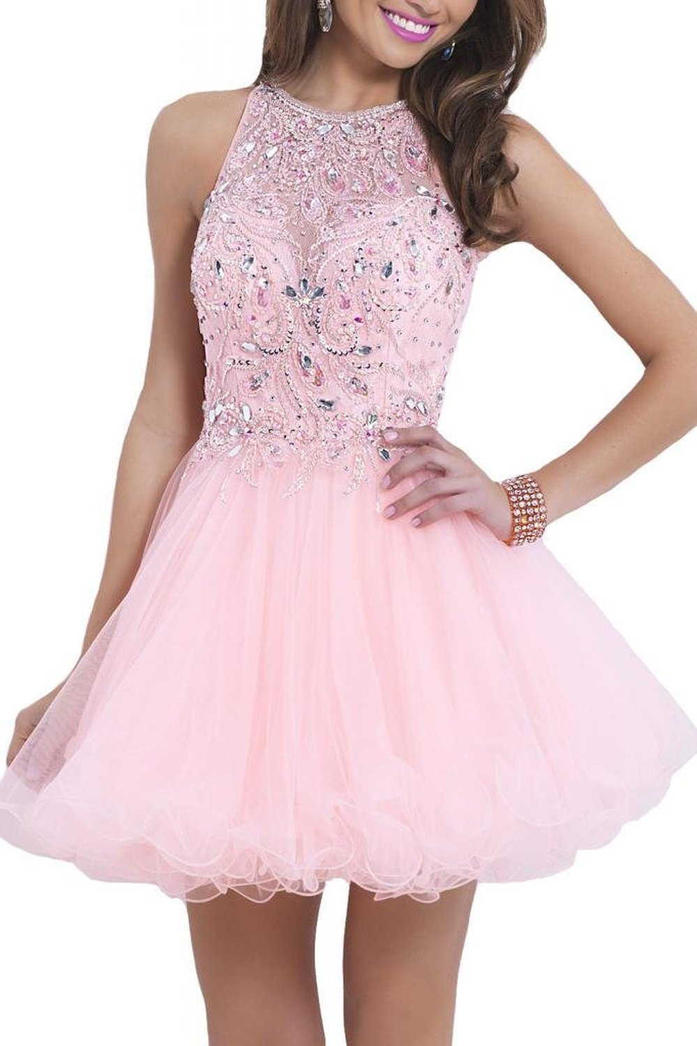 Amazon Com Kissbridal Women S Sexy Mini Prom Dress Beaded