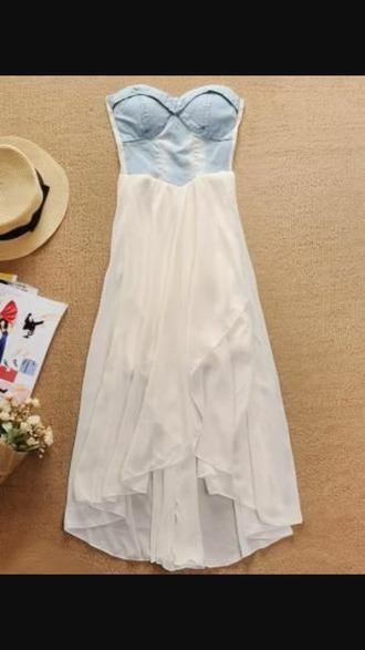 dress hi low dresses denim dress chiffon bottom