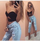 jeans,denim,ripped jeans,high waisted jeans,blue jeans,boyfriend jeans,light blue boyfriend jeans,high waisted,high waisted pants,pants,outfit,outfit idea,summer outfits,cute outfits,date outfit,spring outfits,party outfits,crop tops,top,black top,black crop top,cut out crop top,accessories,heels,high heels,shoes,5 inch and up,nude high heels,nude heels,sexy shoes,cute top,cute high heels,cute shoes,free vibrationz