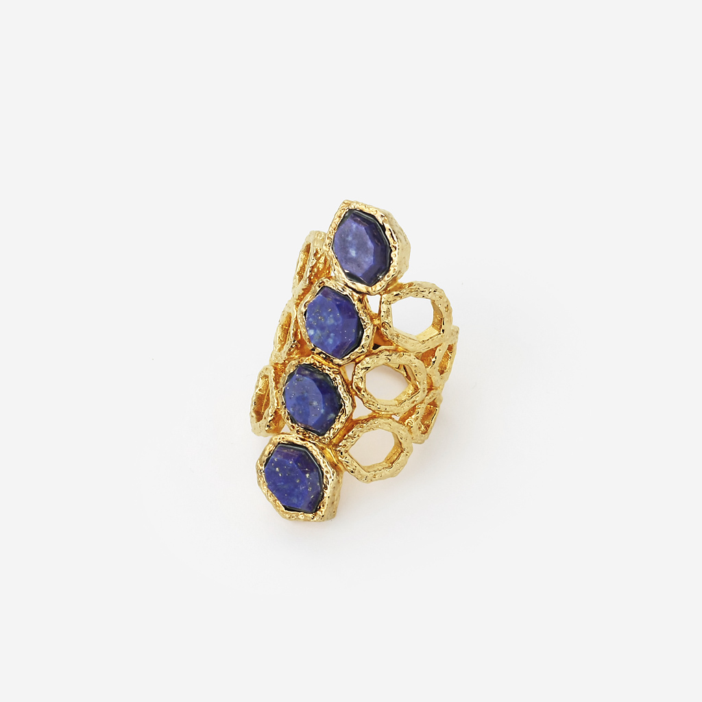 Blue Lapis Goddess Honeycomb Ring