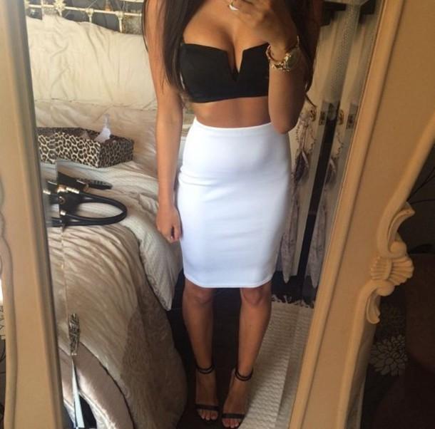 top crop tops skirt