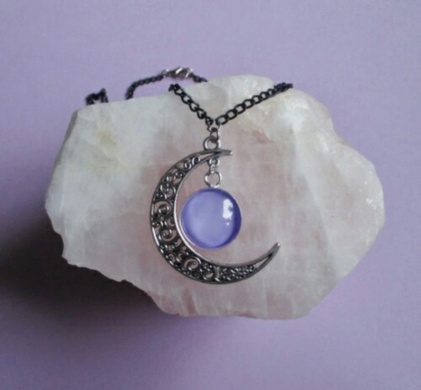 jewels necklace moon purple necklace