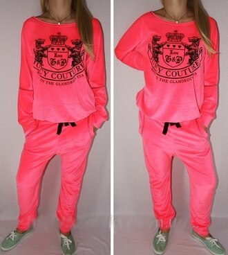 couture velvet coral juicy couture sportswear sweater pants