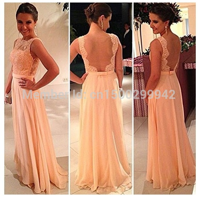 Aliexpress.com : Buy 2014 Wholesale Price Free Shipping New Pretty Lace Beading Nude Back Long Peach Bridesmaid Dresses from Reliable dress bead patterns suppliers on AngelLover Weddings&Events Dresses Co.,Ltd.