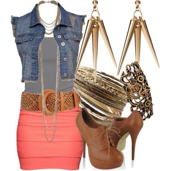 jacket shirt belt skirt shoes jewels