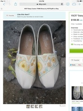 shoes,vintage,floral,hipster,cool,toms,flats,cute,etsy,handmade,its so adorable