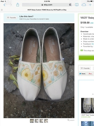 shoes vintage floral hipster cool toms flats cute etsy handmade its so adorable