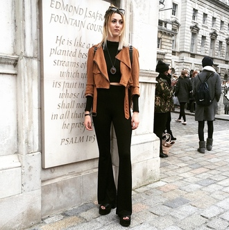 jacket brown suede jacket blakc crop top black flared pants blogger