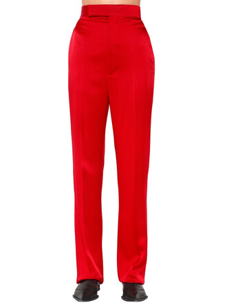pants high satin red