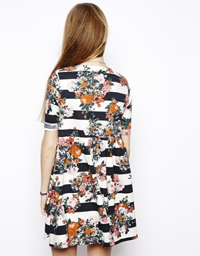 ASOS | ASOS Smock Dress In Stripe And Floral at ASOS