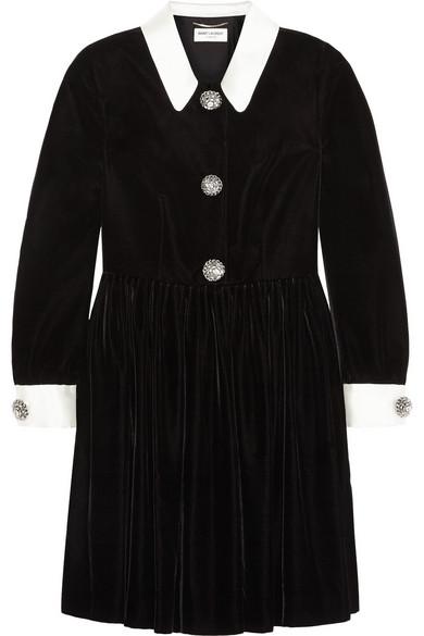 Trimmed embellished velvet mini dress