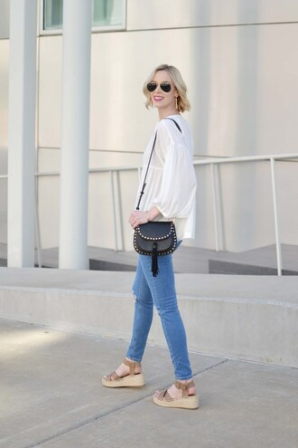 straight a style blogger shoes top jeans bag sunglasses