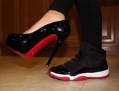 shoes,jordans,black,red,white,heels