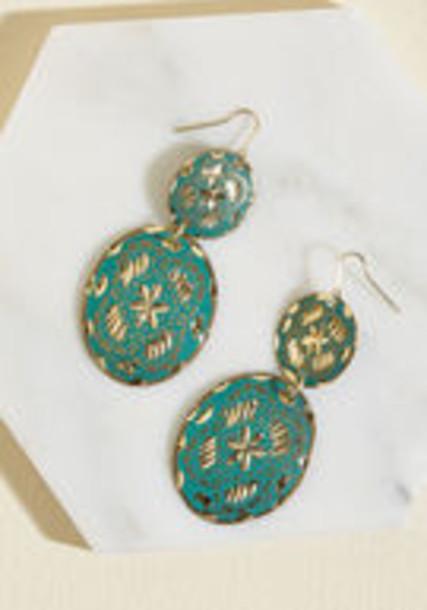 Modcloth earrings green jewels