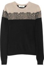 Valentino | Lace-appliquéd wool-blend sweater | NET-A-PORTER.COM
