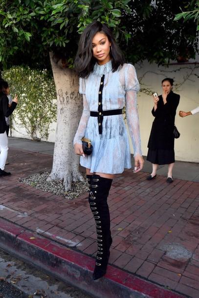 dress lace dress platform lace up boots chanel iman model off-duty