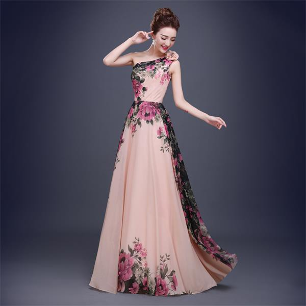 One shoulder color combination prom dress chiffon evening floral ...