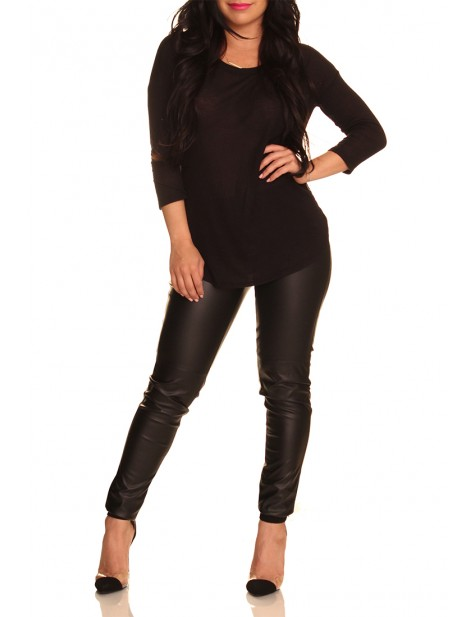 Basic 3Q Sleeve Top: Black - Tops - Shop Separates
