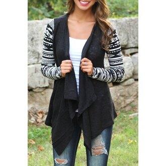 cardigan vintage black black cardigan assymetrical zipper cardigan coat assymetrical grey aztec tribal pattern back to school fall outfits fall fashoin