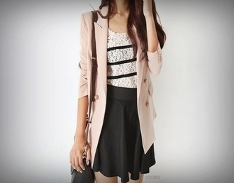 black skirt striped shirt lace shirt peach blazer