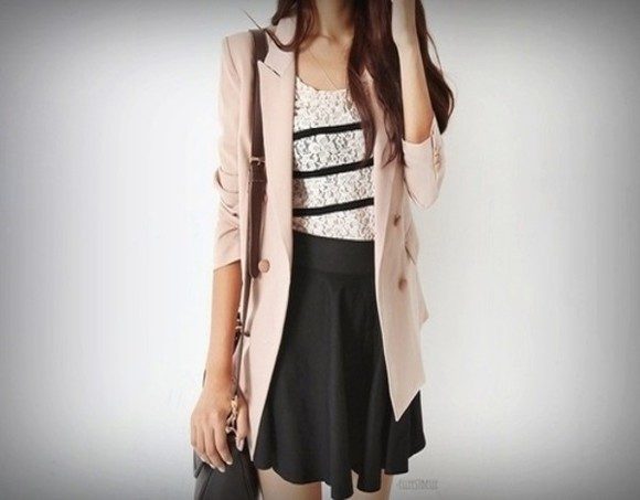lace shirt striped shirt black skirt peach blazer