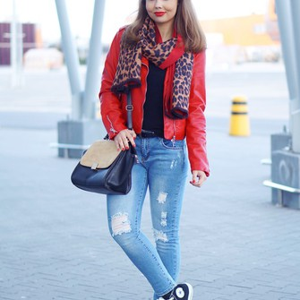 bag ripped jeans blogger red jacket a piece of anna leopard print scarf high top converse scarf red