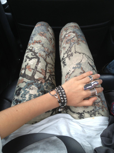 pants leggings printed leggings printed pants aztec leggings colorful girl rock nature clothes trees pattern floral hipster hippy indie summer nature print jewels tree, leggings, pants, jeans jeans floral tumblr