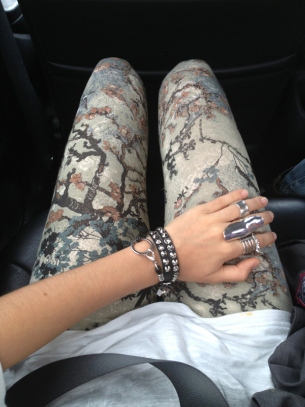 pants leggings girl rock nature clothes tree pattern floral hipster hippie indie summer nature print jewels jeans sweet jewelry skinny bracelets fashion tree printed leggings aztec leggings printed pants colorful cherry blossom bracelets forest leggings floral flowers tree colourful tumblr