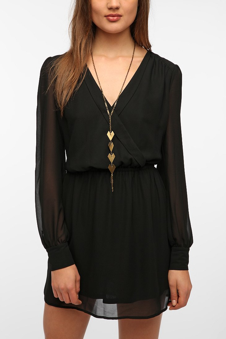 Coincidence & Chance Chiffon Surplice Dress - Urban Outfitters