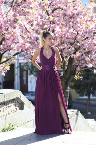 from brussels with love blogger dress jewels shoes gown purple dress long dress spring dress necklace